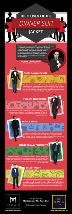 The 5 Lives of the Dinner Suit Jacket [by Montagio -- via #tipsographic]. More at tipsographinc.com