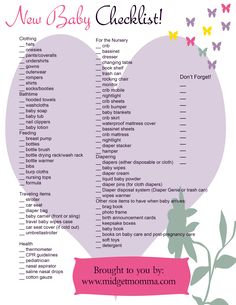 NEW MOM CHECKLIST. | Baby Colombage | Pinterest