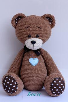 Ben'ce: Teddy Crochet Animal Patterns, Crochet Patterns Amigurumi, Crochet Animals, Crochet Dolls, Crochet Bear, Crochet For Kids, Free Crochet, Pet Toys, Kids Toys