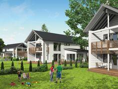 Honka Blues is a modern log home with large balcony.