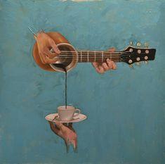 Original Music Painting by Alex Ghizea Ciobanu | Minimalism Art on Canvas | Coffee station