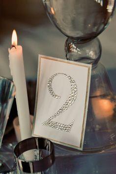 Sparkly table number but inside a vintage frame