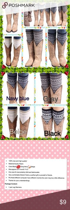 Winter knitted crochet leg warmers Jacquard knitted leg warmers socks boot cover very comfortable stretch fabric a perfect gift to yourself or friends 4 color to choose 💥Price is firm unless bundle 💥 Accessories Hosiery & Socks