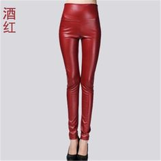 2017 New Spring Women Brand Clothing High Waist Slim Faux Leather Pants Lady Fashion Fleece Skinny PU Leather Trousers Leggings Red High Waisted Pants, High Waisted Leather Leggings, Faux Leather Leggings, Leather Trousers, Red Trousers, Warm Leggings, Tight Leggings, Leggings Are Not Pants, Shiny Leggings