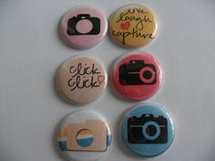 6 Snap Capture Buttons Flairs Pins by HappyCreating on Etsy