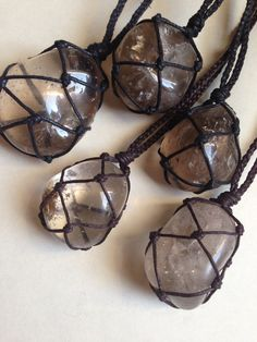 Cord Wrapped Healing Crystal Necklace Smokey by LonelyMoonChild, $25.00