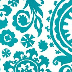Suzani True Turquoise by Premier Prints - Drapery Fabric - Fabric By The Yard At Discount Prices