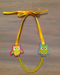 Little Girls Necklace OWLS and Yellow Beads by lucyjory on Etsy