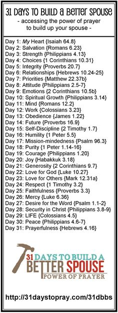 I need to always be working on these verses. My accountability is with God. I need to ensure I am putting into practice His Word and to be the best wife to my hubby I can be! quotes marriage From 31 Days to Pray: A FREE Gift for YOU! Marriage Prayer, Godly Marriage, Marriage Tips, Love And Marriage, Godly Wife, Happy Marriage, Strong Marriage, Bible Verses On Marriage, Bible Verse For Husband