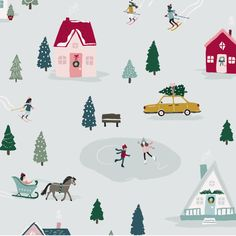 the Season! ❄️ Snowflake by Crate Paper embodies all the beautiful things about winter!Snowflake by Crate Paper embodies all the beautiful things about winter! Winter Illustration, House Illustration, Christmas Illustration, Christmas Background, Christmas Wallpaper, Christmas Design, Christmas Art, Xmas, Paper Journal