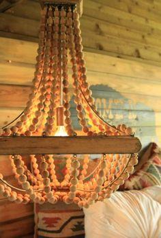 sagebrush wood beaded chandelier