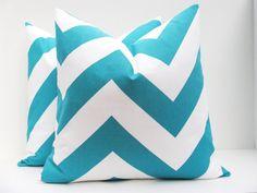 Decorative Throw Pillow Chevron Pillow turquoise pillow Blue Chevron Pillow Cover Set of TWO 16x16 Printed fabric both sides Aqua Blue on Etsy, $30.00