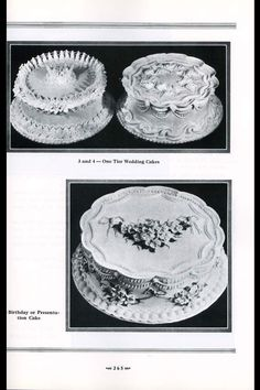 One-Tier Wedding Cakes, top, with Birthday or Presentation Cake. (page from Lambeth's Method of Cake Decorating and Pastries)