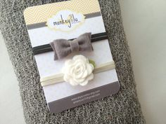 Newborn Stretch Knit Baby Wrap with - 2 - Matching Felt Headbands - Grey My newest etsy purchase...obsessed