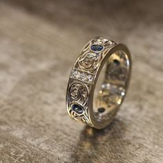 14k White Gold Celtic Men's Wedding Band Diamond by LaMoreDesign, $1486.00