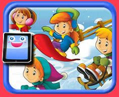 Kids Sliding in the Snow - 40 Piece Online jigsaw puzzle for kids