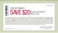 Yankee Candle Coupon September 2014 $20 off $45 at Yankee #Candle, or online via promo code SCARE
