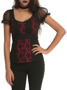 Royal Bones By Tripp Black And Red Lace Top