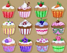 Cupcake Appliques Machine Embroidery by goldenneedledesigns