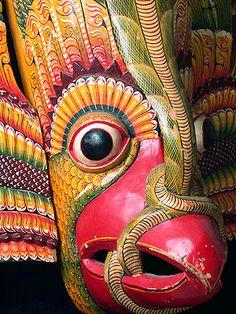 Gurulu mask ~   Sri Lanka ~   painted wood ~     Gurulu is the mythical bird on which the Hindu god Vishnu rode. A common subject for Sri Lankan masks.
