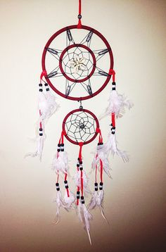 Red Dreamcatcher with Cowry Shells