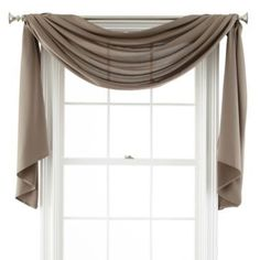 Window Scarf Valance More Window Scarf, Scarf Valance, Scarf Curtains, Window Scarf, Drapes Curtains, Curtain Panels, Curtain Scarf Ideas, Drapery, Window Coverings, Window Treatments, Homemade Home Decor