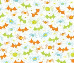 Crawling Flying Creepies fabric by jennartdesigns on Spoonflower - custom fabric Halloween Fabric, Halloween Items, Halloween Patterns, Halloween Kids, Happy Halloween, Halloween Backgrounds, Halloween Wallpaper, Paper Background Design, Scrapbook Paper