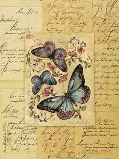 .Vintage butterflys in handwriting frame
