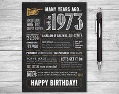 44th Birthday Printable Card 5x7 Folded Many Years Ago Back in 1973