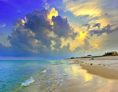 """""""Yellow Blue Seascape Sunset Florida Beach Fine Art"""" by Eszra Tanner: The red house in the distance is the last one before 7 miles of protected coastline.  The colors present remind me of a <b>watercolor painting</b>.  Landscape taken on <i>Navarre Beach, Florida</i>..."""