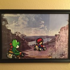 Old Goodwill picture + The Pixelized Princess beadwork = some pretty cool art! Made my own Mario Kart racetrack. :)