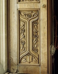 TYNTESFIELD, Wraxall, Bristol, North Somerset, England. Detail of the shutters in the Drawing Room, with carving by James Plucknett. ©NTPL/John Hammond