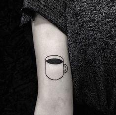 coffee tattoo Coffee cup tattoo on the right upper arm Coffee Cup Tattoo, Coffee Tattoos, Cup Of Tea Tattoo, Black Tattoos, Small Tattoos, Cool Tattoos, Tatoos, Curt Montgomery, Tattoo Und Piercing