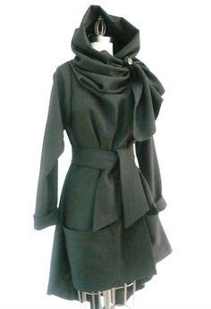 Maria Severyna Black Italian Jet Black Wool Jacket Coat Steampunk ~love this jacket