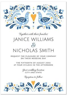 Blue and gold folk art birds flowers wedding invitation. Unique and fun! The design has a scandinavian look (Sweden, Norway, Denmark). #weddinginvitation