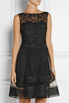 Notte by Marchesa | Lace-trimmed embellished tulle dress |