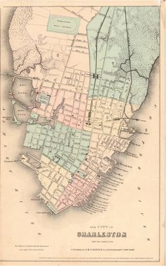 Map of Charleston, SC. Original map created circa 1855.  Image and text posted…