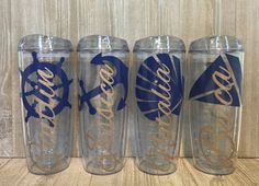 Set of 9 Personalized Beach Tumblers Bridal by SmithAveDesigns
