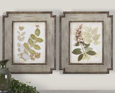 Free shipping on this beautiful set of framed floral oil reproductions designed by Grace Feyock and featuring beautiful hand painted florals surrounded by distressed wooden frames.