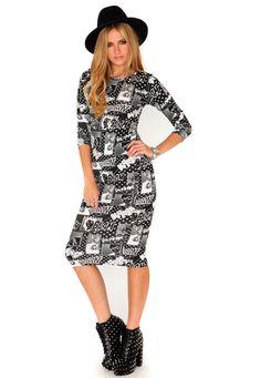 Halle Comic Print Midi Dress