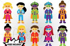 Girl Superhero Clipart & Vectors by PinkPueblo on Creative Market