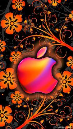 Download Orange Funky Flowers 640 x 1136 Wallpapers - 4486706 - Apple Flowers Funky Orange Logo | mobile9