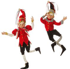 "RAZ Tally Ho Elves Set of 2  Assorted elves Set includes one of each style Posable Made of Polyester Measures 16"" For Decorative Use Only Not Intended for Children - this is not a toy   RAZ"