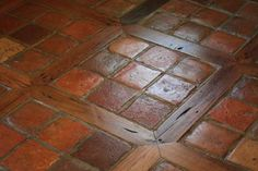 French Terracotta Red Tiles Flooring with Square and Reclaimed Oak Wood Inlay Cheap Hardwood Floors, Dark Wood Floors, Stone Tile Flooring, Wood Flooring, Flooring Ideas, Wood Floor Pattern, Floor Patterns, Kitsch, Wood Parquet