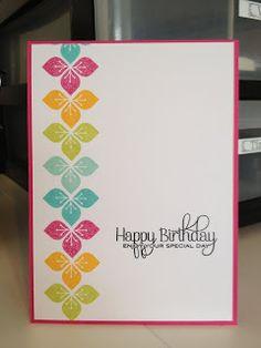 PTI Modern Basics rainbow Birthday card  Hawaiian Shores, Raspberry Fizz, Summer Sunrise, Limeade Ice, Aqua Mist,