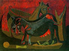 Rufino Tamayo(1899ー1991) was a Mexican painter)「Dos Perros」(1941)