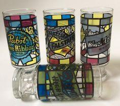 Vintage Beer Glass Tumblers Miller High Life by EastWestVintage1
