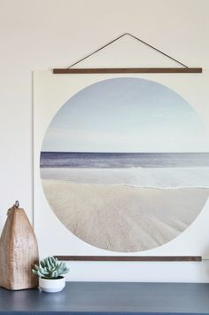 DIY Art-Modern Coastal Print Hung With Wooden Dowels. FREE Printable.