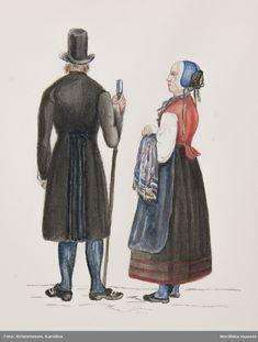 Dräkt.Man och kvinna från Jösse härad, Värmland.