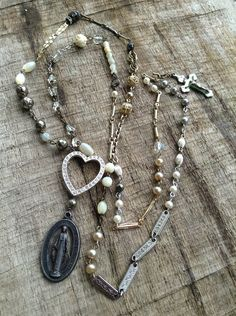 Upcycled Vintage Extra Long Religious Medal Treasures Assemblage Necklace,OOAK,Repurposed on Etsy, $109.00